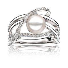 Freshwater Pearl & Diamond Ring in Sterling Silver