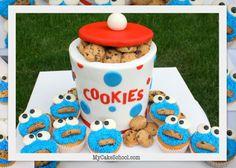 Cookie Jar Cake with Cookie Monster Cupcakes~ Blog Tutorial via my cake school