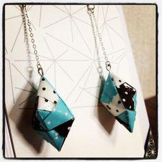 $26 #earring #origami #earrings #jewelry #polkadot #blue #white #leemo