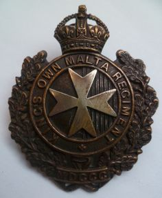 Kings Own Malta Regiment Cap Badge. A nice badge with two lugs to the rear. British Army militaria for sell in UK, including cloth insignia, jackets dealer UK. Military Cap, Military Uniforms, Ww2 History, Military History, British Medals, British Uniforms, Army Hat, British Army, Commonwealth
