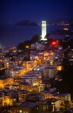 Coit Tower at night, San Francisco CA