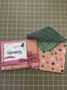 Stampin' Up Painter's Palette stamp set, Playful Palette 6x6 paper stack, Sweet Sugarplum Ruched ribbon. 3x4 card with matching envelope