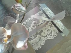 Lace Wedding invitation Suite The Sicilian in Silver by inkandlove, $6.00