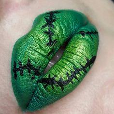@zodieac used our Benjamins lipstick to create this Frankenstein lip art. We love it!  #Dnacosmetics #makeupbydna #halloween #lipart