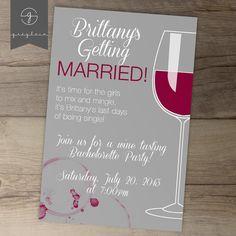 Bachelorette Party Invites / Invitations / Wine Tasting / Girls Night / Printable / Cocktails