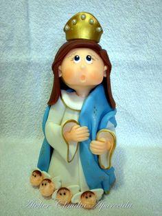 Nossa Senhora da Conceição modelada em biscuit com características infantis.  Elo7 - Atelier Claudia Aparecida