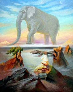 These amazing optical illusions have been created by Ukrainian artist Oleg Shuplyak.Merging portraits of famous figures from art and fiction with landscapes and images from nature, his work requires a. Optical Illusion Paintings, Amazing Optical Illusions, Art Optical, Illusion Kunst, Illusion Art, Illusion Pics, Oleg Shuplyak, Double Sens, Street Art