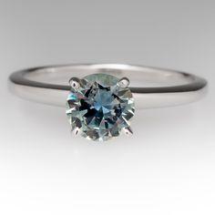 Montana blue green sapphire ring in 18k white gold