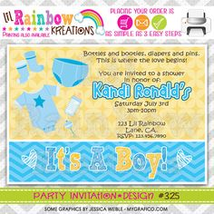 325 DIY Baby Onesie And Booties Party by LilRbwKreations on Etsy