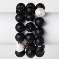 12mm matte onyx sterling silver spacers 12mm black polymer clay balls 14mm A+ freshwater pearl
