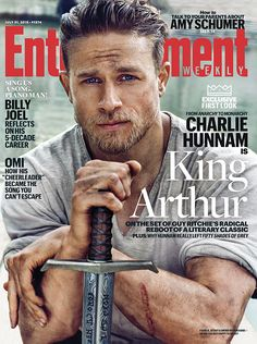 Charlie Hunnam as King Arthur: First Look Photo!: Photo Charlie Hunnam is smoldering in this first look at his character King Arthur on the cover of EW magazine's latest issue! Entertainment Weekly, Charlie Hunnam King Arthur, Charlie Hunnam Soa, Guy Ritchie, Amy Schumer, Sons Of Anarchy, Hunger Games, King Arthur Movie, Omi Cheerleader