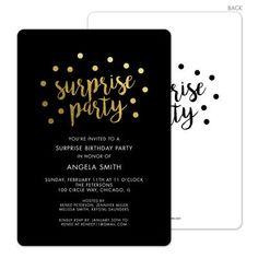 Black Surprise Party Confetti Dot Invitations