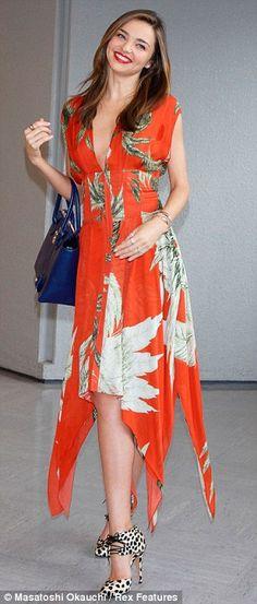 Summer #streetstyle   Miranda Kerr in a Wes Gordon dress and Bionda Castan shoes