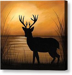 Deer Silhouette Paintings Canvas Prints and Deer Silhouette ...