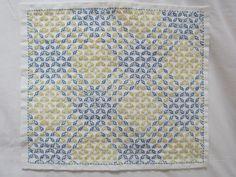 刺し子の布巾(方眼刺し/ブルー系)