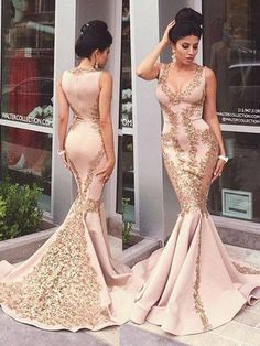 Mermaid Prom Dresses Sexy V-neck Appliques Long Prom Dress/Evening Dress JKS093