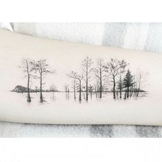 Row of Trees Tattoo arm tattoo of trees with one color Pretty Tattoos, Love Tattoos, Beautiful Tattoos, Body Art Tattoos, New Tattoos, Tree Tattoo Arm, Inner Forearm Tattoo, Piercing Tattoo, Piercings