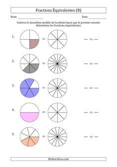Fractions Équivalentes, Math Fractions Worksheets, 4th Grade Math Worksheets, Teaching Fractions, Teaching Math, Math For Kids, Fun Math, Homeschool Math Curriculum, Math Websites