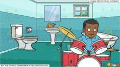 #clipart #cartoon A Black Man Smirks As He Begins To Hit The Drums With Drumsticks and An Apartment Bathroom Background -  Vendor: vectortoon Type: Clipart Price: 20.00  Source Clipart  A Black Man Smirks As He Begins To Hit The Drums With Drumsticks  A man of African descent with short black hair wearing a light blue collared shirt light gray pants black shoes smiles and looks down as he is about to start playing his red and white drum set kit with his beige drumsticks on both hands.  An Apartment Bathroom Background  A typical bathroom with teal tiled walls aqua green floor a white toilet lavatory and tub with shower hose faucet and toilet paper holder square mirror a teal rectangular carpet and a small window.