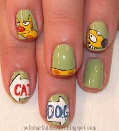 CatDog Mani! OMG I REMEMBER THIS SHOW!!! #nails #manicure