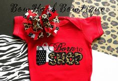 BHB Born to Shop Applique Shirt or Onesie and Hair Bow Set