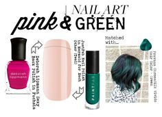 """Spring Mani: Pink & Green"" by sophie-poualion on Polyvore featuring beauty, Deborah Lippmann, JustFab, Nails Inc. and pinkandgreen"
