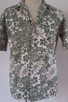 Hilo Hattie Reverse Print Green Floral Aloha Hawaiian Men's Shirt Small  #HiloHattie #Hawaiian