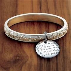 Vesta Olive Branch Bangle Bracelet in PurLuxium featuring your children's names.