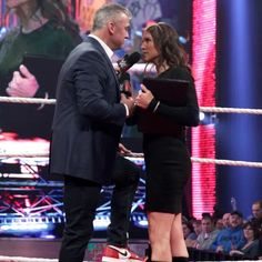 McMahon admits that Shanes claims are true and Stephanie storms out of the ring. Mcmahon Family, Shane Mcmahon, Stephanie Mcmahon, Wrestlemania 32, Storm Out, Catch, Wwe Tna, Excellence Award, Triple H