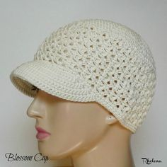 Blossom Cap {Free Crochet Pattern} - Hat For Women - Ideas of Hat For Women - Free Newsboy Cap Crochet Pattern! The gorgeous open texture and the lightweight yarn make this hat a great option for summer! Crochet Newsboy Hat, Crochet Hat With Brim, Crochet Adult Hat, Bonnet Crochet, Crochet Summer Hats, Crochet Hat For Women, Crochet Cap, All Free Crochet, Crochet Scarves