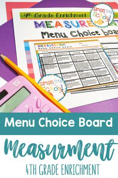 This enrichment menu project is an amazing differentiation tool that not only empowers students through choice but also meets their individual needs. 4th grade students can show their mastery of 4th grade common core math standards for measurement in a fun and engaging way. #iteach4th #4thgrademath #iteachmath #measurement