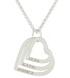 Triple Heart Pendant Personalised Engraved Name Necklace Silver Plated
