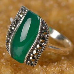 Green Agate Micro Mosaic Marcasite Vintage Ring