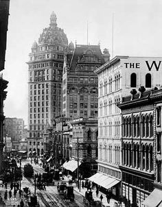 View toward Market Street on Kearny, c. 1903  The domed Call Building, the largest office building in the west.