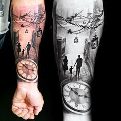 Family Of Three Late Night Outing Tattoo Mens Forearms