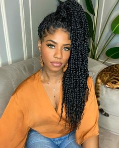 Passion twists crochet hair are a stunning, gorgeous, protective hairstyle that is cheaper and easier to create than some of the other popular styles. Twist Braid Hairstyles, Crochet Braids Hairstyles, African Braids Hairstyles, Twist Braids, Girl Hairstyles, Protective Hairstyles, Havana Twists, Dutch Braids, Marley Twists