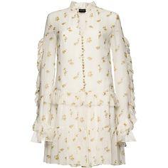 Floral Long Sleeve Ruffle Mini Dress | Moda Operandi ($1,425) ❤ liked on Polyvore featuring dresses, long-sleeve mini dress, v-neck dresses, floral dresses, ruffle collar dress and short mini dress