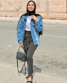 How to wear striped pants with hijab Striped pants and ruffle blouses hijab outfits – Just Trendy Girls Hajib Fashion, Hijab Fashion Summer, Modern Hijab Fashion, Hijab Fashion Inspiration, Fashion Outfits, Latest Fashion, Fashion Trends, Mode Outfits, Casual Outfits