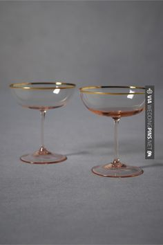Rosy-Cheeked Coupes from BHLDN. Did you know the first coupe glass was given to Marie Antoinette by Louis XVI and is rumored to have been modeled after her left breast? Vintage Champagne Glasses, Champagne Saucers, Champagne Flutes, Rose Champagne, Champagne Tower, Champagne Cocktail, Vases, Vase Deco, Cocktails