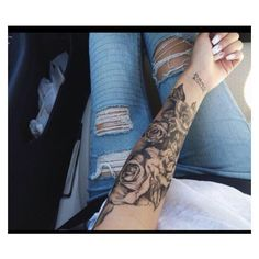 (71) Roses sleeve tattoo | Tattoos | Pinterest ❤ liked on Polyvore featuring accessories and body art