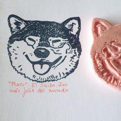 Shiba Inu handcarved stamp by Natàlia Trias