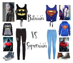 """Batman vs Superman"" by bubble-loves-you ❤ liked on Polyvore featuring New Look, Poizen Industries and Converse"
