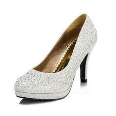 Women's Sparkling Glitter Cone Heel Closed Toe Pumps (047046374)