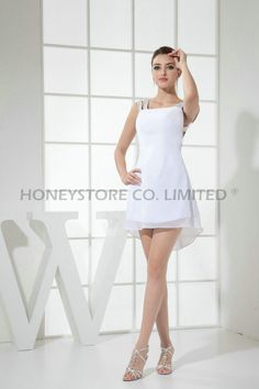 Aliexpress.com : Buy Straight Straps Above Knee Chiffon White with ...