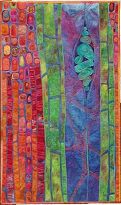 "Karen Kamenetzky Fiber Artist Potential III  2004 24.25""w x 40.75""h   Hand dyed cotton,yarns Machine quilted and pieced"