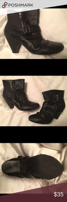 Buckle Black Booties Boots 7.5 Ladies Like New Only worn a few times from Maurice's. The Buckle on the side gives it an added flair. So stylish! These Booties are ready to be given as a gift to someone special! A must have! Maurices Shoes Ankle Boots & Booties