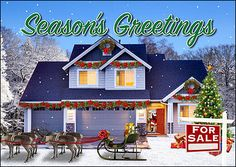"""Featuring a house fully decorated for the holiday season, the Home Sale Christmas Card is perfect for real estate agents looking to connect with buyers, contact sellers, and increase business in the new year. Printed on smooth, glossy card stock, the Home Sale Christmas Card measures 5"""" x 7"""" and features a colorful design with a snowy backdrop, a reindeer-pulled sleigh parked in the front yard, and a for sale sign that adds a personal touch. With many upgrades included, this card can be…"""