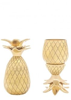 Far from the shot glasses of our university days, these retro pineapple brass shot glasses will be a stylish feature in your cocktail cabinet. The tops can be upturned to stand as a base for the cups. Cheers! Capacity 2oz