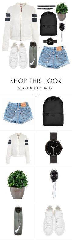 """White sneakers and shorts. "" by sovereign-domination ❤ liked on Polyvore featuring Levi's, Rains, Tommy Hilfiger, I Love Ugly, New Look, NIKE and Alexander McQueen"
