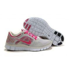 Nike Free Run+ 3 Lysgrå Rød Dame